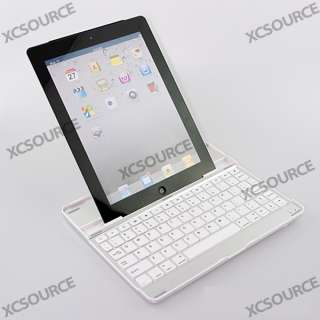 Aluminum Cover Case Bluetooth Wireless KeyBoard Dock Stand White for