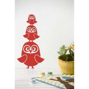 Three Owls in Red Kids Wall Stickers