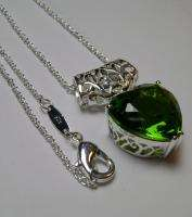 5ct Heart Green Peridot Sterling Silver 925 Filigree Chain Pendant