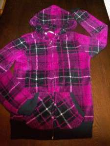 Purple Plaid Comfy SOFT Fuz Zip Hoodie Sz S Derek Heart