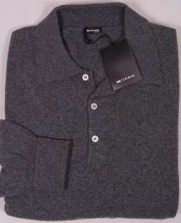 KITON SWEATER $1895 CHARCOAL GRAY 100%CASHMERE 3 BTN POLO SWEATER XL