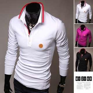 BOKNAM Mens Slim Fit Long Sleeve Polo Casual Tee T shirts NVI048CUS 3