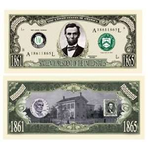 SET OF 100 BILLS ABRAHAM (HONEST ABE) MILLION DOLLAR BILL