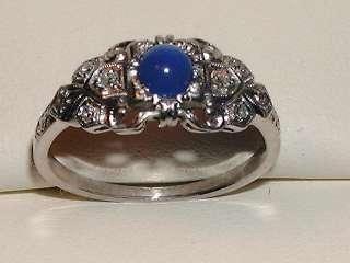 ANTIQUE WHITE GOLD ELEGANT SAPPHIRE DIAMOND RING