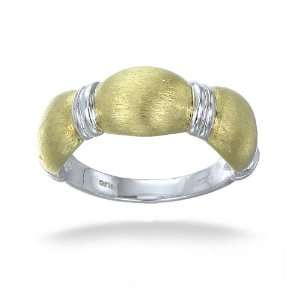 18K Yellow Gold Plated Contemporary Ring In Sterling Silver With Matte
