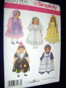 18 Doll American Girl Pinafore Wedding Dress New Simplicity 3520