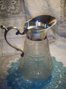 VINTAGE DECO CUT GLASS SILVER PITCHER WATER PLANTS DECORATION