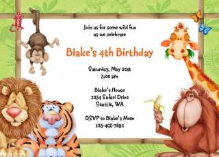 JUNGLE FUN Birthday Invitations & Address Labels