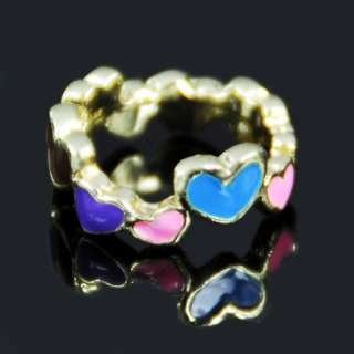 Golden Heart Style Finger Ring Jewelry Women Lady Fashion FREE