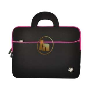 KOZMICC Black/Pink Neoprene Laptop Sleeve Case w/ Handle for up to 15