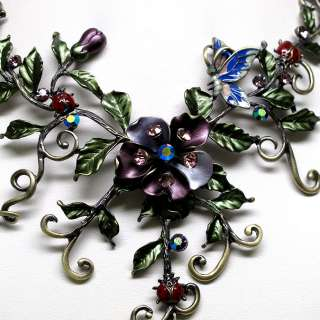 GORGEOUS FLOWER BUTTERFLY AMETHYST COLOR CRYSTAL NECKLACE EARRINGS SET