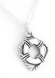 STERLING SILVER LIFEGUARDS LIFE PRESERVER NECKLACE 18