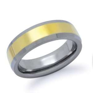 Beveled Edge Gold Plated Tungsten Ring Size 6.5 Jewelry