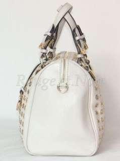 SALE MICHAEL by MICHAEL KORS Grayson grommet satchel bag VANILLA/GOLD