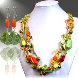 FOUR STRAND YELLOW ORANGE AND GREE MIX BEAD GLASS SEED BEAD NECKLACE