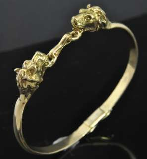 Antique Estate 14K Yellow Gold Greek Roman Lion Head Bangle Bracelet