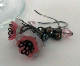 Lucite White and Pink Flowers Gunmetal Earrings