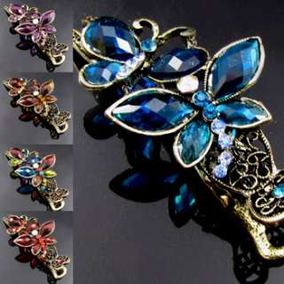 , 1 rhinestone crystal antiqued butterfly hair clamp cli