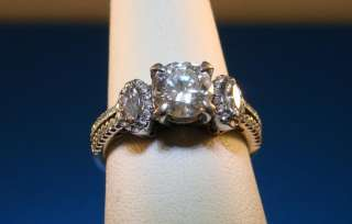 Simon G Round Marquise Diamond 18K White Gold Engagement Ring