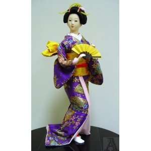 Japanese Geisha Girl Doll Statue Art Silk Fan Home