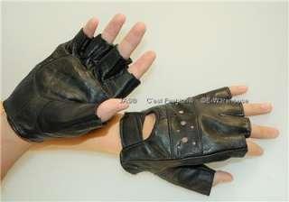 Punk Rock Goth Fingerless Half Glove PU Leather Studded