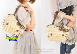 Hello Kitty Summer Straw Woven Tote Hand Shopping Bag