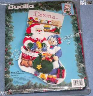 Bucilla MR. & MRS. CLAUS Felt Christmas Stocking Kit