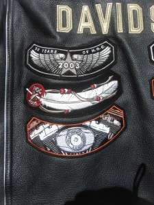Black Leather HARLEY DAVIDSON 100 Year Anniversary Vest W/Patches Size