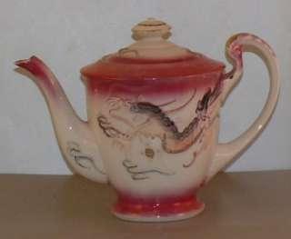 Dragonware Moriage Japan Luster Tea Pot Set Sugar Creamer Nippon Pink