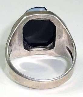 Vintage Art Deco Era Sterling Silver & 10K Rose Gold Cameo Mans Ring