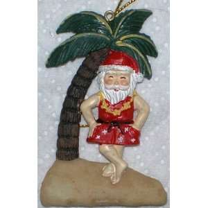 Hawaiian Slim Christmas Ornament Santa Dancing Kitchen