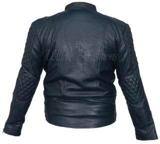 Black Motorcycle Leather Jacket Racer Punk Vintage Cow Hide