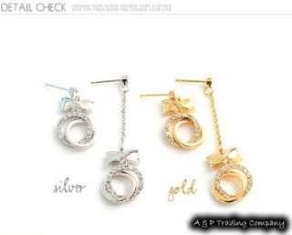 ES462 Authentic Korean Fashion Charming Crystal Unbalance Earring