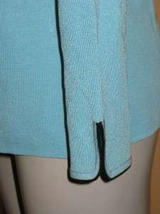 NWT Turquoise W/Black MING WANG Knit Tunic Length Jacket Small