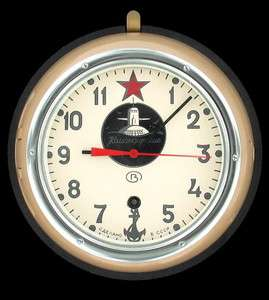 SOVIET NAVY SUBMARINE CLOCK VINTAGE MILITARY USSR RUSSIAN WORKS HAS