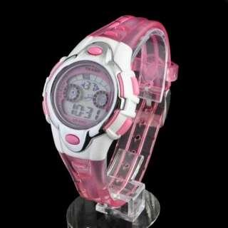 Colour light LED Digital Military Women Lady Girl Sport Watch Pink