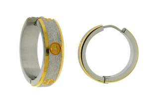 Sparkly Silver and Gold tone Stainless Steel Lock Hoops