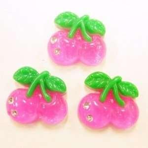 5pc Hot Pink Glitter Cherries Flat Back Resins Cabochons