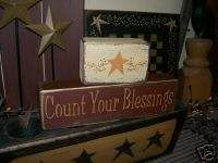 PRIMITIVE BLOCK SIGN~~COUNT YOUR BLESSINGS~BERRIES~STAR