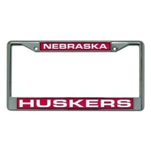 Nebraska Huskers Laser Cut Chrome License Plate Frame