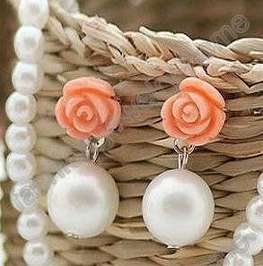 Fashion Lovely Pink Flower Imitate Pearl Earrings