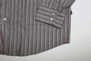 NWT $145 HUGO BOSS MENS GRAY STRIPED DRESS SHIRT XL
