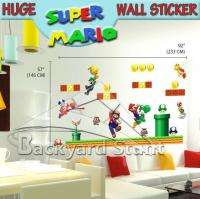 Huge Super Mario Wall Sticker Decals XMAS Children Gift Removable US