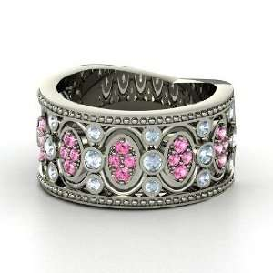 Renaissance Band, 14K White Gold Ring with Aquamarine & Pink Sapphire
