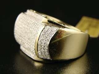 MENS YELLOW GOLD GENUINE PINKY DIAMOND XL RING 1.40 CT