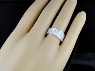 03 CT 10K MENS/LADIES WHITE GOLD 8.5 MM WEDDING BAND REAL DIAMOND