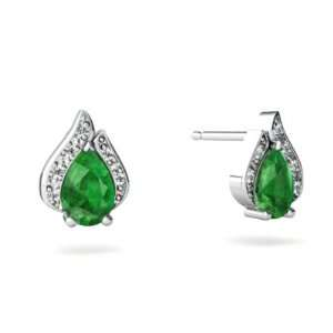 14K White Gold Pear Genuine Emerald Flame Earrings Jewelry