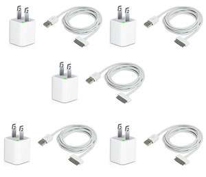5X USB USA AC Power Adapter Wall Charger Plug + SYNC Cable iPod iPhone