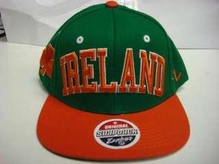 Ireland Irish Zephyr Flat Brim Snapback Cap Green Super Star Hat