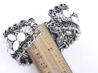 Metal Vintage ish Cream Bead Crystal Rhinestone Bead Flower Bracelet